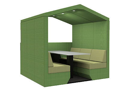 6 person den with half wall
