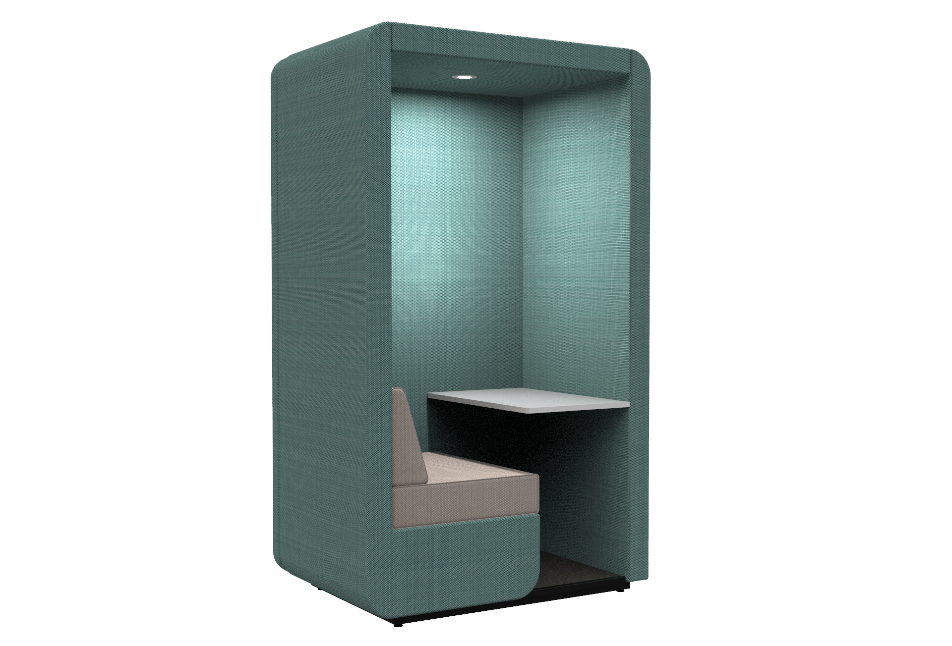 Workbooth with floor and end wall