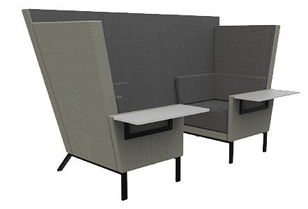 2 seat den with side tables