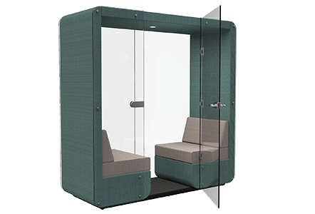 2 person den with glass end wall and glass door